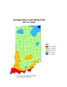 Figure 2. Average date of the last hard spring freeze. Source: Indiana State Climate Office; https://ag.purdue.edu/indiana-state-climate/freeze-frost-probability-growing-season-length/.