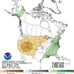 Figure 1. National three-month climate outlook of precipitation relative to normal for August through September (source: Climate Prediction Center).