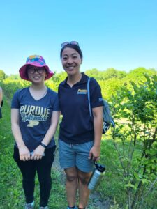 Figure 3. Master's student, Zihan (Lilac) Hong, and Dr. Elizabeth Long at the annual Blueberry Growers of Indiana Meeting in June 2021.